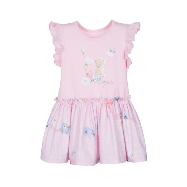 Lapin House Kitten & Blue Bird Bow Dress - Dresses
