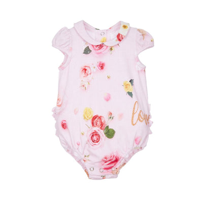 Lapin House New Baby Pink Floral Bodysuit & Bottle Gift Set - Babysuits