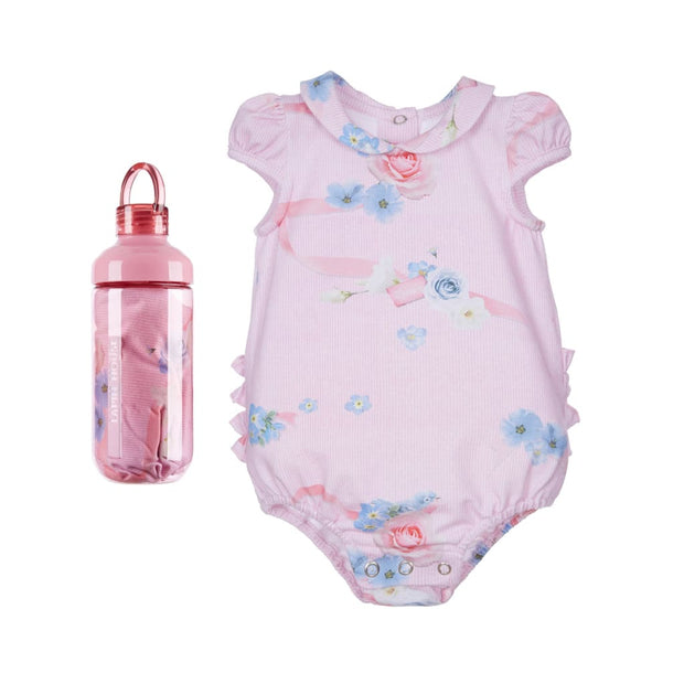 Lapin House New Baby Pink/blue Bodysuit & Bottle Gift Set - Babysuits