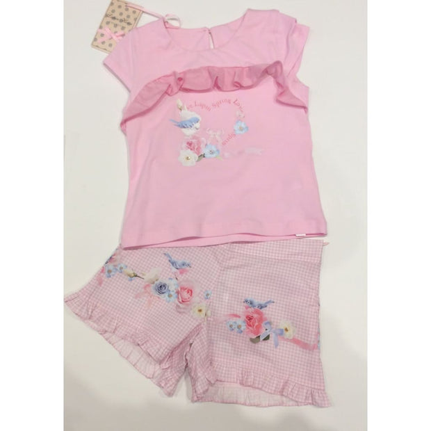 Lapin House Pink Bird Floral Shorts Outfit - Outfits & Sets