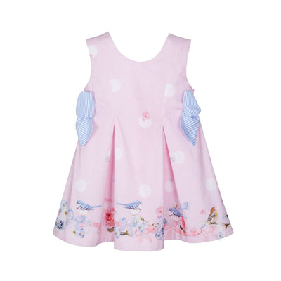 Lapin House Pink Blue Bird Bow Dress - Dresses