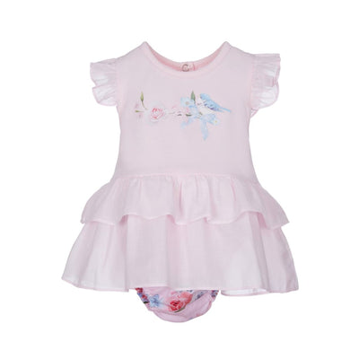 Lapin House Pink Blue Bird Dress & Knickers Outfit - Dresses