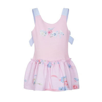Lapin House Pink Drop Waist Bow Dress - Dresses