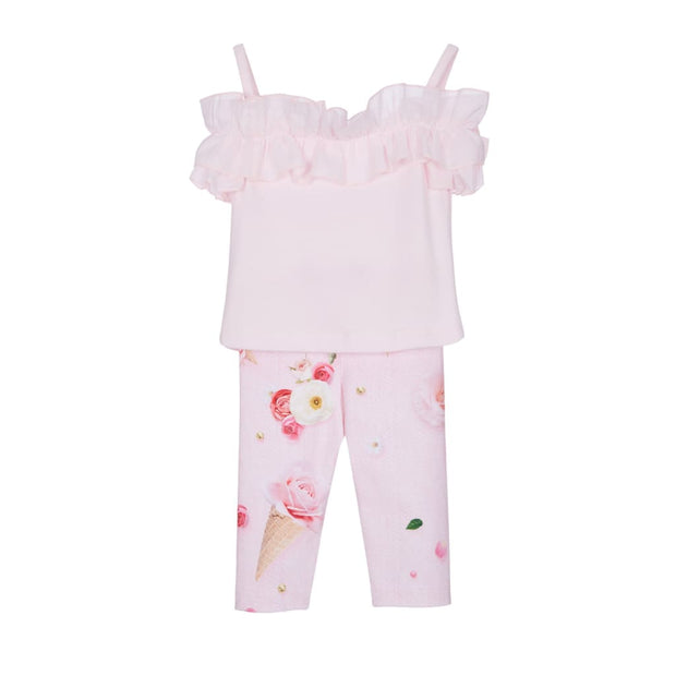 Lapin House Pink Floral Ice Cream Cone Leggings Set - Outfits & Sets