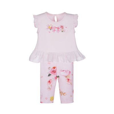 Lapin House Pink Floral Ice Cream Cone Top & Leggings - Outfits & Sets