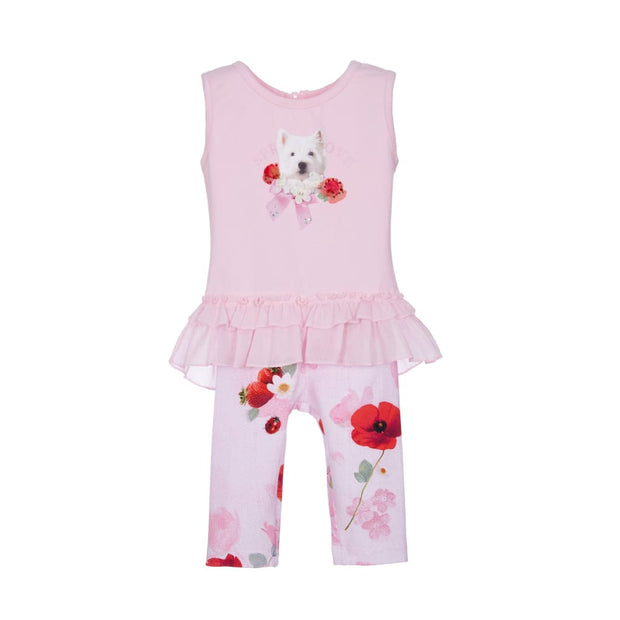 Lapin House Pink Pup Leggings Set - Outfits & Sets
