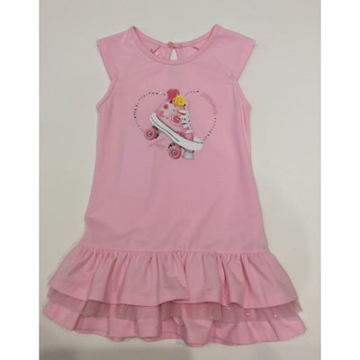 Lapin House Pink Roller Skates Tiered Dress - Dresses