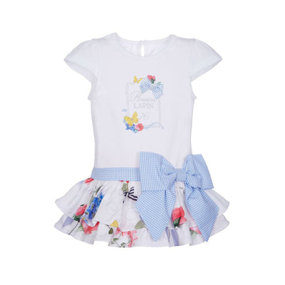 Lapin House White Drop Waist Bow Dress - Dresses