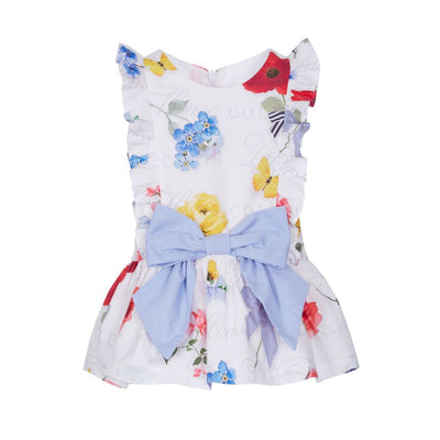 Lapin House White Floral Ruffle Drop Waist Dress - Dresses