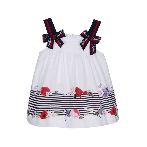 Lapin House White & Navy Floral Stripes Dress - Dresses