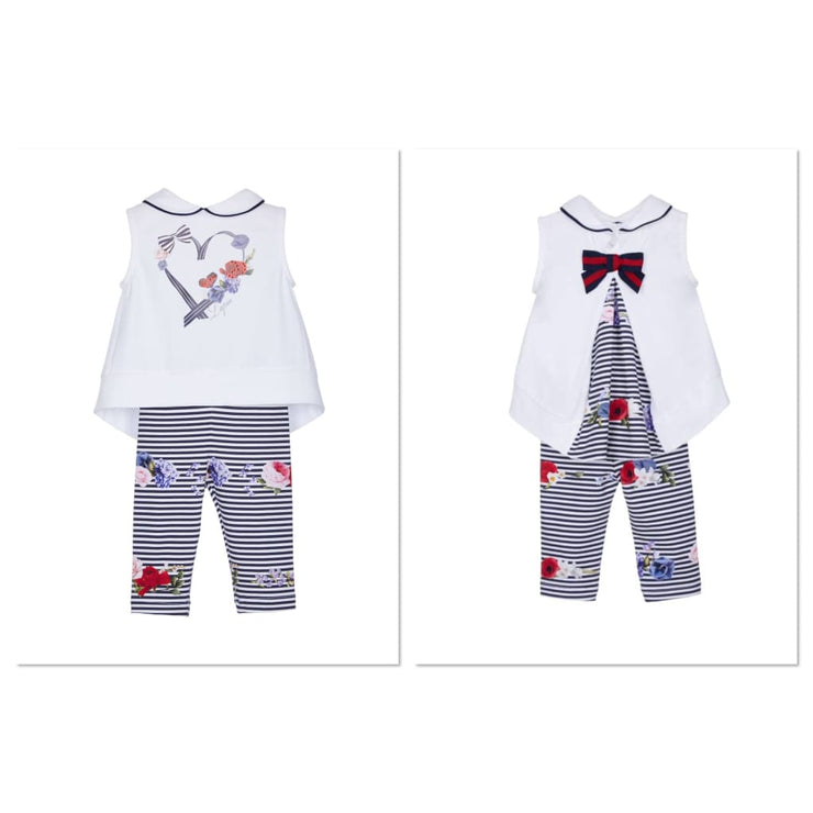 Lapin House White Navy Heart Leggings Set - Outfits & Sets