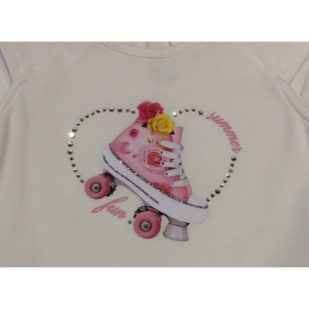 Lapin House White Roller Skates Tiered Dress - Dresses