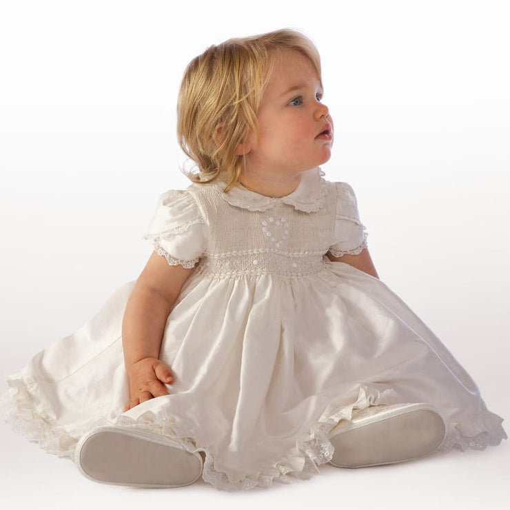Little Darlings Bs9009 Silk Amelia Christening Dress Bloomers - Christening Dress