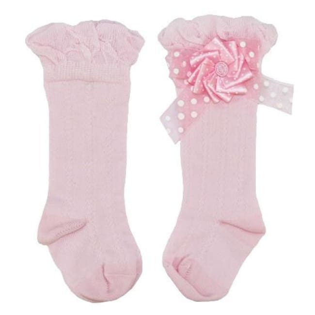 Little Darlings Pastel Candy Flowers Knee High Socks 4043 - Socks