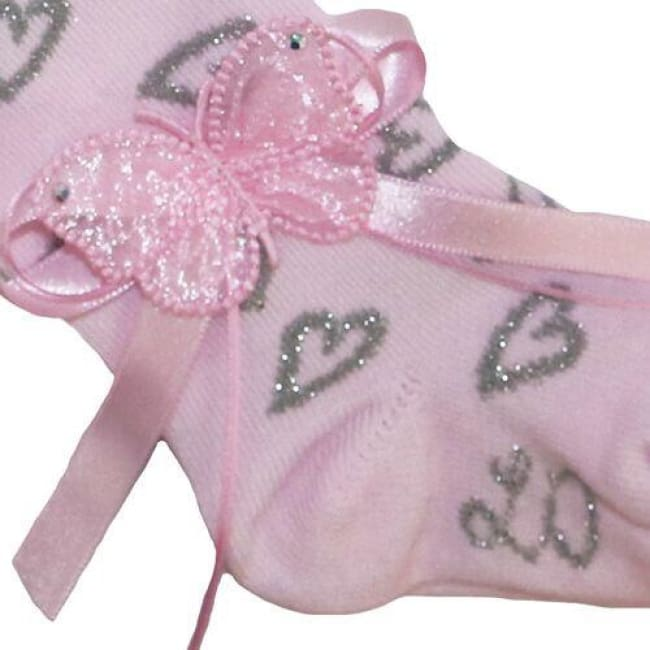 Little Darlings Pink And Silver Hearts Tights 3062 - Socks & Tights