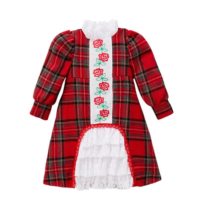 Little Darlings Tartan & Lace Embroidered Dress - Dresses