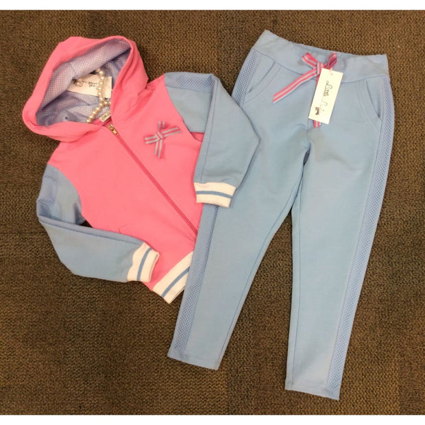 Little Lady Pink & Blue Tracksuit Bottoms - Joggers