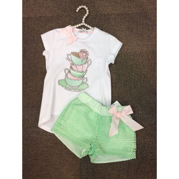 Little Lady Tea Stack Shorts Set - Outfits & Sets
