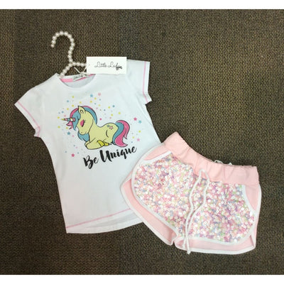 Little Lady Unicorn And Sequin Shorts Set - Outfits & Sets