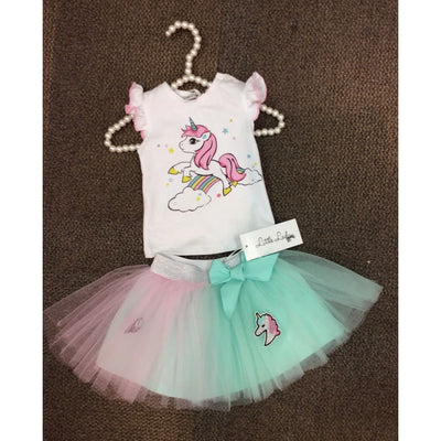 Little Lady Unicorn Pink & Mint Tulle Skirt Outfit - Outfits & Sets