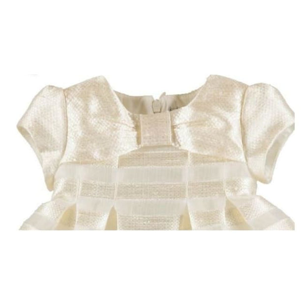 Mayoral Stripes Jacquard Special Occasion Dress 1910 Ivory - Baby Dress