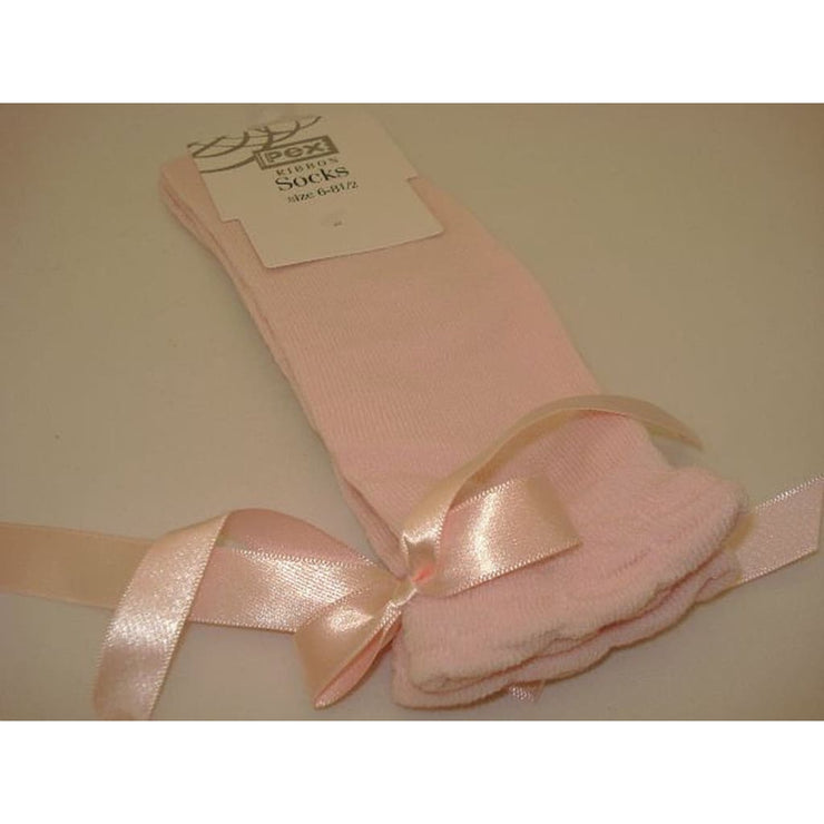 Pex Pink Knee High Ribbon Socks
