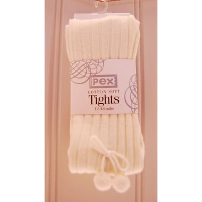 Pex Soft Ribbed Ivory Pom Pom Tights - Tights