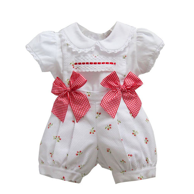 Pretty Orginals White / Red Pinafore Shorts Outfit Mt00886 - Outfits & Sets