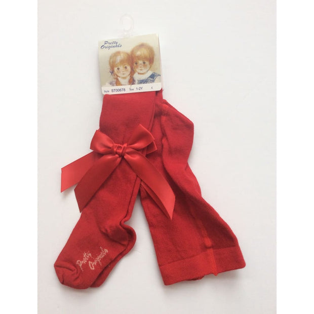 Pretty Origianls Red Bow Tights - Tights