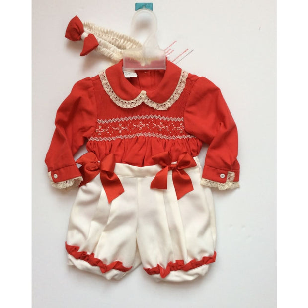 Pretty Originals Aw17 Red & Cream Smocked Shorts Outfit Mt00780 - Shorts Outfit