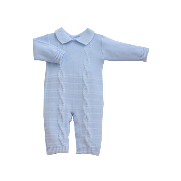 Pretty Originals Aw18 Jpg6000 Boys Blue Cable Knit Romper - Boys Outfits