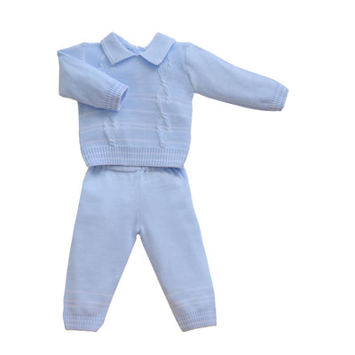 Pretty Originals Aw18 Jpg6180 Boys Blue Knitted 2 Piece Outfit - Boys Outfits