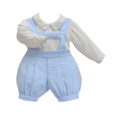 Pretty Originals Aw18 Mt00838 Boys Blue & Cream Braced Shorts Outfit - Boys Shorts Outfit