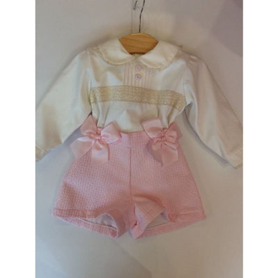 Pretty Originals Aw18 Mt00854 Cream & Pink Textured Shorts Outfit - Shorts Outfit