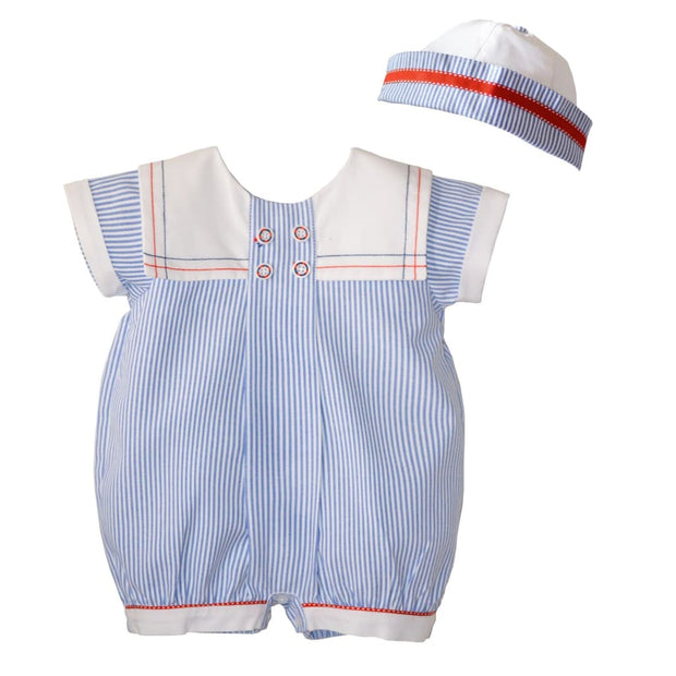Pretty Originals Boys Chambray & White Romper & Hat Dl61797 - Boys Romper Outfits