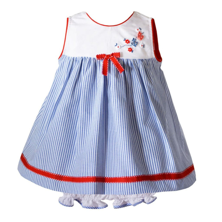 Pretty Originals Chambray White Baby Dress & Bloomers Bd01796 - Dress