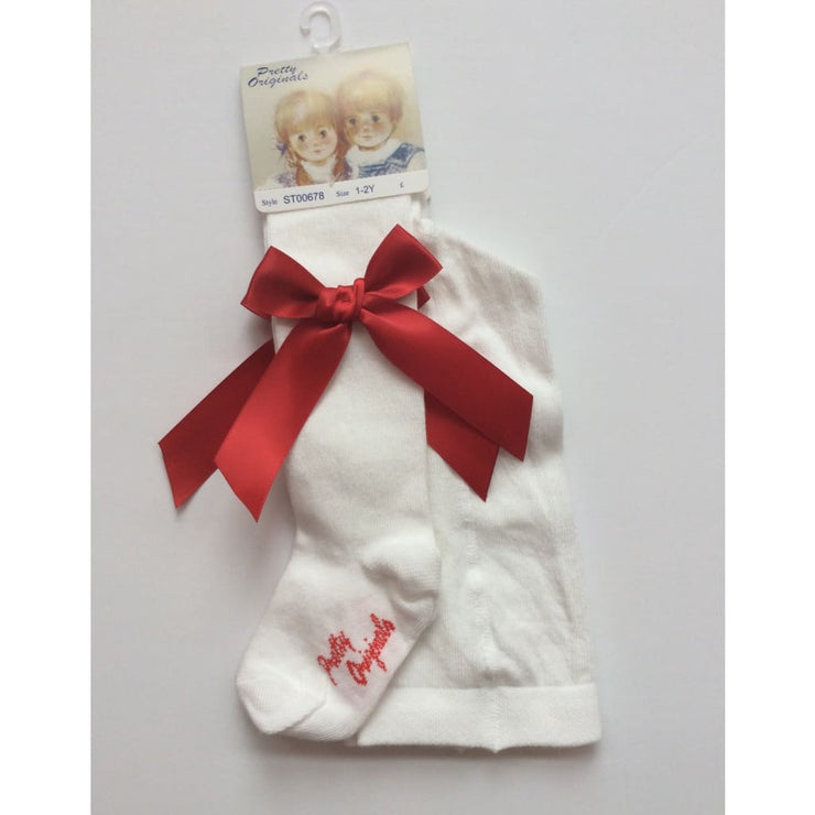 Pretty Originals Christmas Cream and Red Bow Tights - Tights