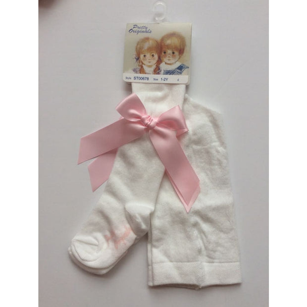 Pretty Originals Cream & Pink Bow Tights - Tights