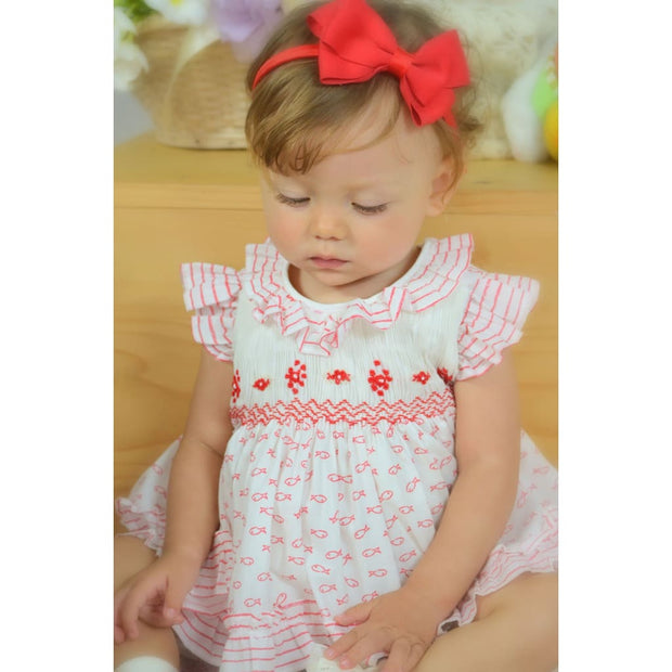 Pretty Originals Little Fishies Cream & Red Dress & Bloomers Outfit Mt00806 - Baby Dress