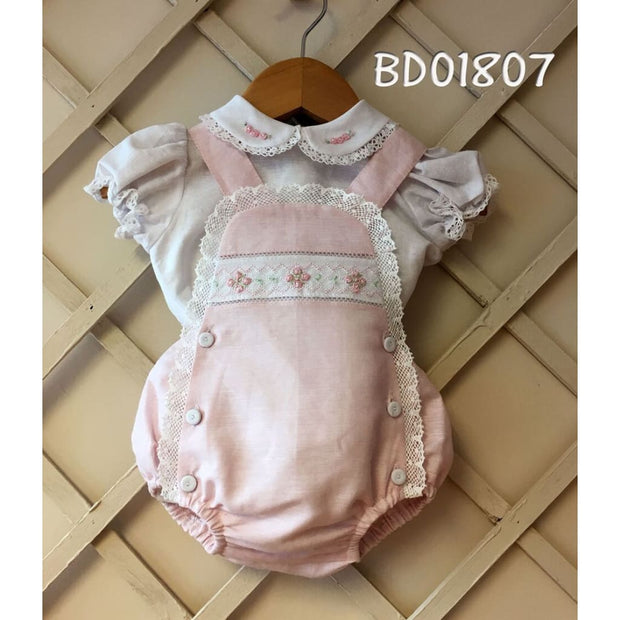 Pretty Originals Pink Embroidered Lace Romper Bd01807 - Babysuit