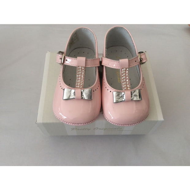 Pretty Originals Pink Patent Silver Diamanté Bow T-Bar Shoes Ue03286 - Shoes