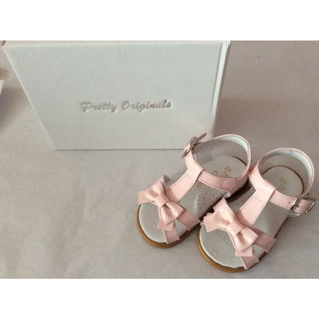 Pretty Originals Pink Patent T-Bar Bow Sandals Up00459 - Shoes