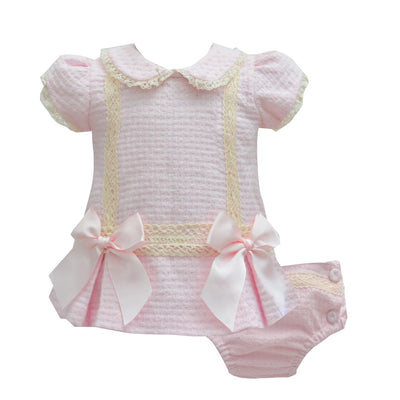 Pretty Originals Pink Textured Dress & Knickers Outfit Mt00853 - Dress
