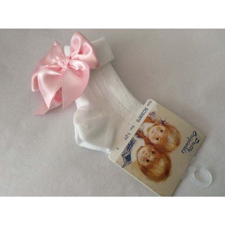 Pretty Originals Summer 18 White & Pink Ribbon Ankle Socks Sc30875 - Socks
