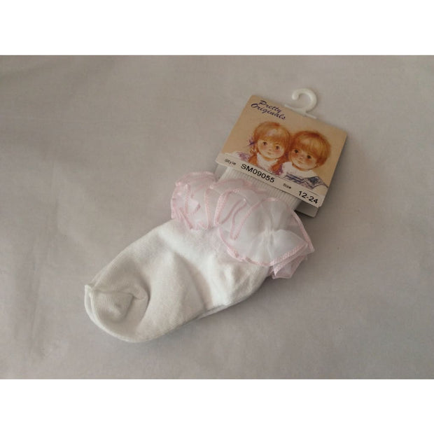 Pretty Originals Summer 18 White & Pink Tulle Ankle Socks Sm09055 - Socks