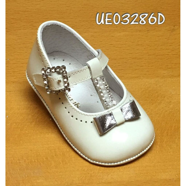 Pretty Originals White Patent Silver Diamanté Bow T-Bar Shoes Ue03286 - Shoes
