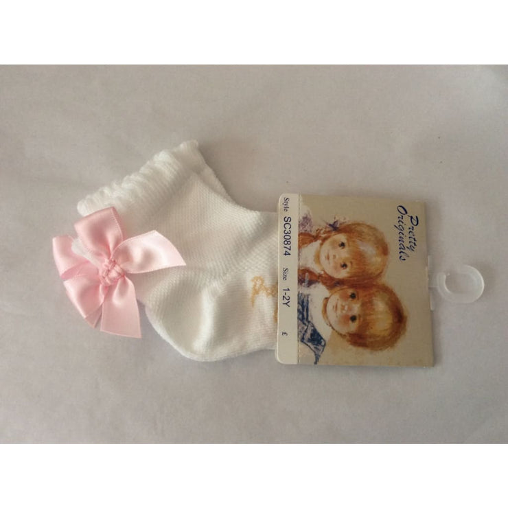 Pretty Originals White & Pink Ankle Socks Sc30874 - Socks
