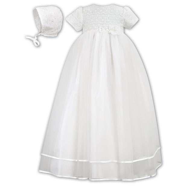 Sarah Louise 001087 Ivory Christening Gown with Bonnet - Christening Gown