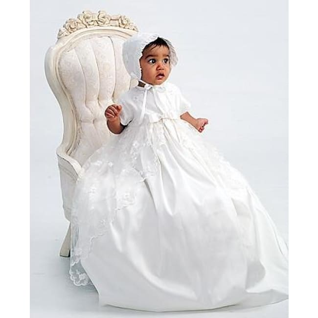 Sarah Louise 001133 Heirloom Silk Christening Gown With Bonnet - Christening Gown