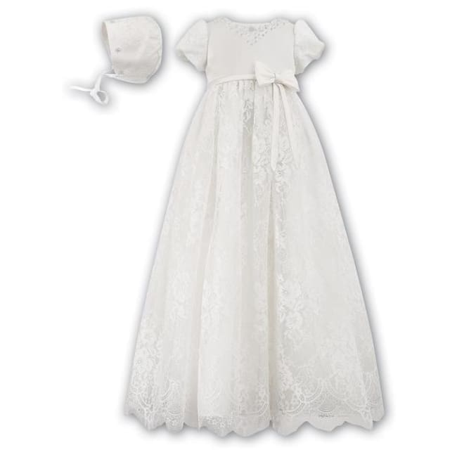 Sarah Louise 001164 Christening Gown With Bonnet - Christening Gown